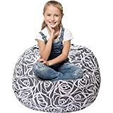 Stuffed Animal Storage Bean Bag - Cover Only - Large Beanbag Chairs for Kids - 90+ Plush Toys Holder and Organizer for Girls - 100% Cotton Canvas - Gray Roses