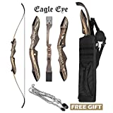 JEKOSEN 2019 Eagle Eye Wooden Takedown Archery Recurve Bow 62' Hunting Bow- Include Back Arrows Quiver Bag and Bow Stringer Tool Right & Left Hand 25-60LBS Draw Weight