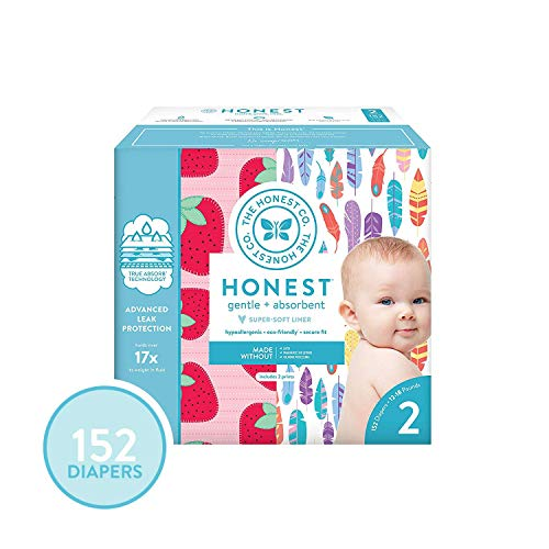 The Honest Company Super Club Box Diapers - Size 2 - Painted Feathers & Strawberries Print   TrueAbsorb Technology   Plant-Derived Materials   Hypoallergenic   152 Count