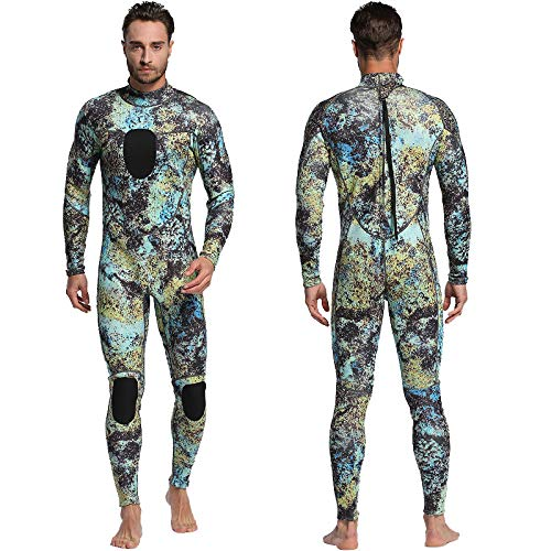 Nataly Osmann Mens 3mm /1.5mm Wetsuits Camo Neoprene Full Body Diving Suits One Piece Spearfishing Suit (camo02-3mm, M)