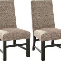 Ashley Furniture Signature Design – Sommerford Dining Side Chair – Set of 2 – Casual – Brown Upholstery – Black Wood Frame