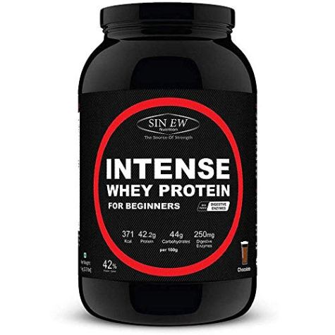 Sinew Nutrition Beginner's Intense Whey Protein Supplement with Digestive Enzymes, 1Kg, Chocolate