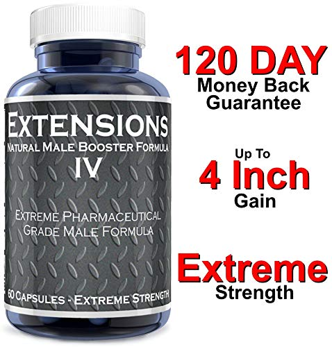 Extensions IV Testosterone Enlargement Booster Increases Energy, Mood & Endurance - All Natural Performance Supplement for Men