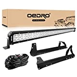 LED Light Bar Tri-row 52 Inch 758W OEDRO Combo Off Road Lights Driving Fog Light Work Lamp + Upper Roof Windshield Mounting Bracket Fit for Jeep JK Wrangler + Wiring Harness