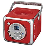 Jensen CD-555 Red CD Bluetooth Boombox Portable Bluetooth Music System with CD Player +CD-R/RW & FM Radio with Aux-in & Headphone Jack Line-in Limited Edition- (Red)