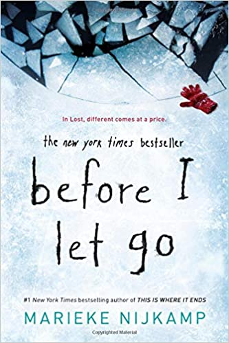 """An icy pond with a break in the icy with a red glove on the edge of the break. In small red writing it reads """"In Lost different comes at a price"""" The rest of the image is an icy pond. Except for blue writing that shows the authors name """"Marieke  Najkamp"""""""