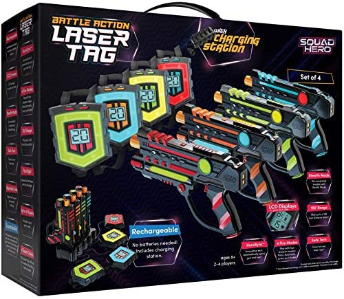 Rechargeable Laser Tag Set + Innovative LCDs and Sync – Pack of 4 Infrared Guns & Vests – Gifts for Teens and Adults Boys & Girls – Cool Outdoor Group Family Fun Laser Tag Gift for Kids Ages 8+