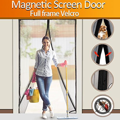 FYLINA Magnetic Screen Door Heavy Duty Mesh Curtain Screen and Full Frame Velcro, Top-to-Bottom Seal No Mosquitos - Fits Door Up To 34