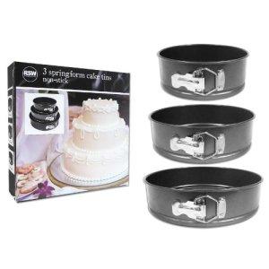 3 Piece Non Stick Spring Form Cake Tin Set Three Sizes Cake Baking Making Coated Tins Space Saving Stackable Storing 18cm, 22cm, 26cm Diameter & 7.5cm Deep 516ask9vpoL