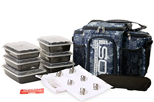 Isolator Fitness 3 Meal ISOBAG Meal Prep Management Insulated Lunch Bag Cooler with 6 Stackable Meal Prep Containers, 2 ISOBRICKS, and Shoulder Strap - Made in USA (Navy)
