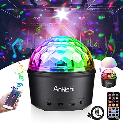 Disco Ball Light, Stage Light Sound Activated Party Lights Night Light Wireless Speaker 9W 9 Colors LED Lamp for Bar Club Karaoke Wedding Show Xmas Home Dance (Remote Control, USB)