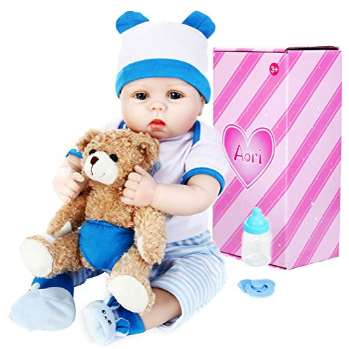 Aori Lifelike Realistic Reborn Baby Boy Doll 22 Inch Handmade Weighted Reborn Baby Doll with Bear Toy