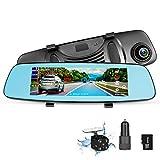 Dash Cam Rear View Mirror Car Camera, ADAS 4G 7.84' WiFi FM GPS Navigation Bluetooth Dual Lens Rear View Mirror Video Recorder Full HD 1080P Car Camera 32GB Card Car Charger