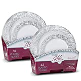 "Laura Stein Designer Dinnerware Set of 64 Premium Plastic Wedding/Party Plates: White, Silver Rim. Set Includes 32 10.75"" Dinner Plates & 32 7.5"" Salad Plates 
