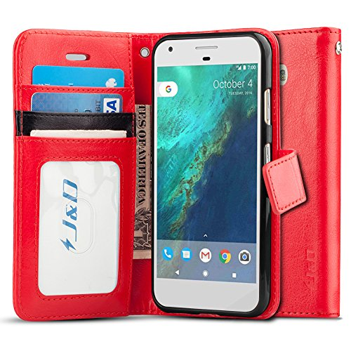 J&D Case Compatible for ZenFone 3 Laser Case, [Wallet Stand] [Slim Fit] Heavy Duty Protective Shock Resistant Flip Cover Wallet Case for ASUS ZenFone 3 Laser Wallet Case - Red