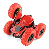 Rimila Electric 2WD Off Road RC Stunt Car Vehicle 2.4Ghz Racing Slot Cars 7.5Mph 360° Rolling Rotating Rotation (Battery Not Included) Toy, Red
