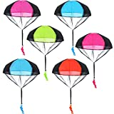 Blulu 6 Pieces Parachute Toys Tangle Free Throwing Hand Throw Soldiers Toss It Up and Watching Landing Outdoor Toys