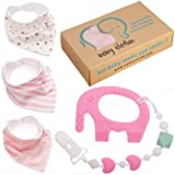 Easter Gifts For Girls - Unique Matching Set of Teether Pacifier Clip, Pink Elephant Teething Toy, 3 Pack Bandana Drool Bibs, 100% Safe BPA Free Silicone, Best for 0 3 6 Months Old Newborn Infant