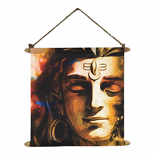 Yaya Cafe Meditating Shiv Poster Wall Painting Hanging Scroll Canvas – 24 x 24 Inches,Multi-Coloured