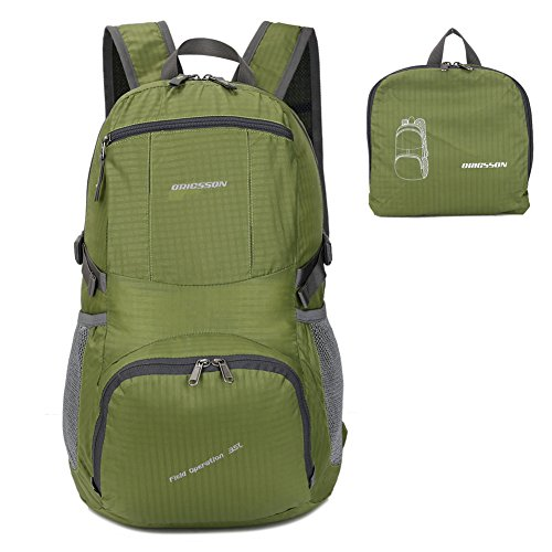 ORICSSON Travel Lightweight Foldable Carry on Hiking Foldable Backpack Daypack for Men and Women,Green 35L