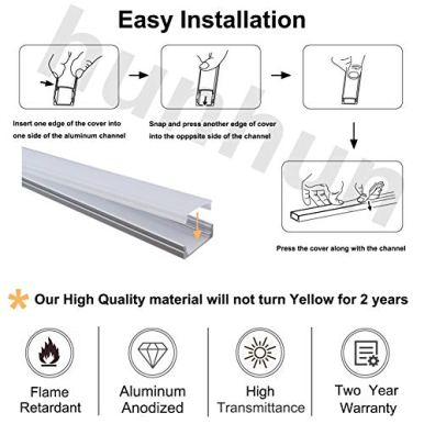 hunhun-10-Pack-33ft1Meter-U-Shape-LED-Aluminum-Channel-System-with-Milky-Cover-End-Caps-and-Mounting-Clips-Aluminum-Profile-for-LED-Strip-Light-Installations-Very-Easy-Installation