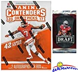 2017 Panini Contenders NFL Football Draft Picks EXCLUSIVE Factory Sealed Retail Box with TWO(2) AUTOGRAPHS Plus BONUS 2016 Leaf Football Pack! Look for Autographs of Mahomes, Watson & More! WOWZZER!