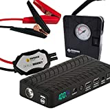 Rugged Geek RG1000 Safety Plus 1000A 2019 Model Car Jump Starter, Jump Box and USB/Laptop Power Supply with LCD Display, INTELLIBOOST Smart Cables, LED Flashlight, and 12V AIR COMPRESSOR!