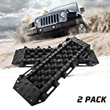 BUNKER INDUST Off-Road Traction Boards with Jack Lift Base, 2 Pcs Recovery Tracks Traction Mat for 4X4 Jeep Mud, Sand, Snow Traction Ladder-Green Tire Traction Tool