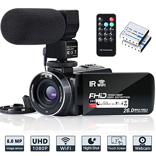 Video-Camera-Camcorder-WiFi-IR-Night-Vision-FHD-1080P-30FPS-YouTube-Vlogging-Camera-Recorder-26MP-30-Touch-Screen-16X-Digital-Zoom-Camcorder-with-MicrophoneRemote-and-2-Batteries