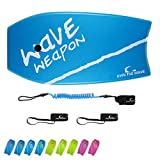 Own the Wave 37 Inch Body Board for Adults and Kids - HDPE Slick Bottom & EPS Core - Light Weight Bodyboard Perfect for Surfing - Comes with Coiled Leash and Swim Fin Tethers (Blue & White)