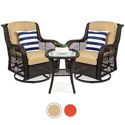 Best Choice Products 3-Piece Patio Wicker Bistro Furniture Set w/ 2 Cushioned Swivel Rocking Chairs, Side Table – Beige