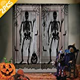 AerWo 2pcs Black Lace Halloween Window Curtains, Spooky Skeleton Spider Web Valance Door Panels Covers for Halloween Holiday Party Decoration, 40 x 84 Inch