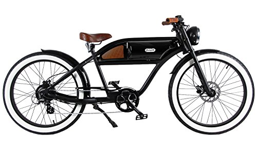 "GREASER RETRO STYLE Electric BIKE - 26"" Wheels, Bafang 350W Brushless Electric Motor, 7-speed, 36V13Ah, Li-Ion Battery, Extended Range, Black/Black"