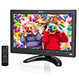 Eyoyo 10 inch Small TV Monitor HDMI Portable Kitchen TV, 1024x600 LCD Screen with TV/HDMI/VGA/AV-BNC/USB Input & Remote Control for Multi Application w/TV Antenna