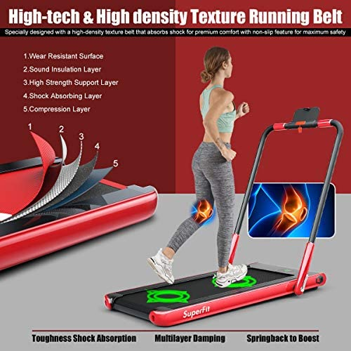 Goplus 2 in 1 Folding Treadmill, 2.25HP Under Desk Electric Treadmill, Installation-Free, with Remote Control, Bluetooth Speaker and LED Display, Walking Jogging Machine for Home Use 2