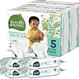 Seventh Generation Size 5 Diapers and Wipes Box - 69 Diapers with Animal Prints and 256 Wipes for Sensitive Skin (Packaging May Vary)