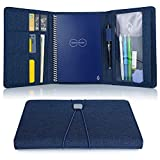 Folio Cover for Rocketbook Everlast, Wave, One Executive Size, Cloth Fabric, Multi Organizer with Pen Loop/Phone Pocket/Business Card Holder, fits A5 size Notebook, Blue, 9.4' x 6.3' (BLUE)