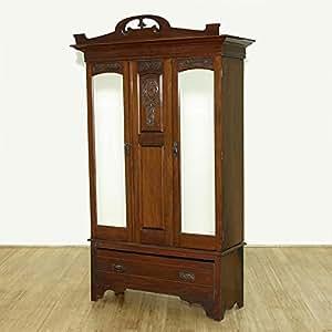 Amazon.com: Antique English Large Walnut Armoire Wardrobe ...