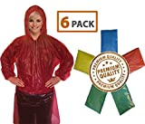 Rain Poncho for Adults (6 Pack)   Drawstring Hood and Elastic Sleeve Ends   50% Thicker Quality Material   Emergency Disposable Rain Poncho   Assorted Colors   100% Waterproof