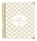 """Undated Wedding Calendar Planner & Organizer/Hardcover Keepsake Journal with Essential Planning Tools - Checklists, Vision Boards, Tips and More - 9"""" x 11"""" - Gold Foil Scallops"""