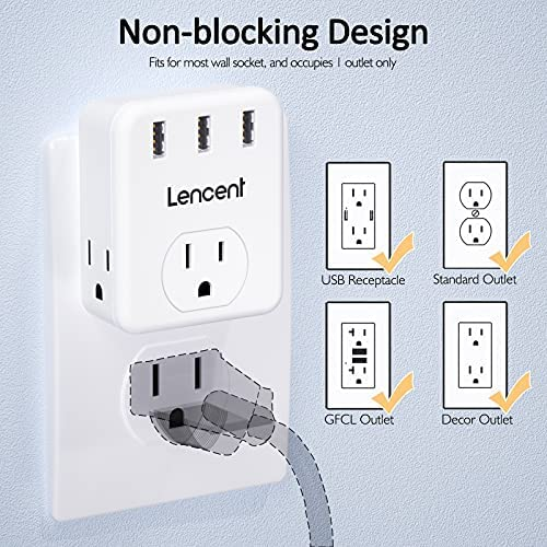 Multi Plug Outlet Extender, LENCENT 3 Outlets Splitter with 3 USB Ports, Wall Charger, 3 Prong Plug, Power Charging Box Expander for Home, Office, Hotel, Dorm, Cruise Ship Approved- White 15