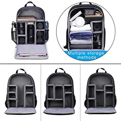 CADeN-Camera-Backpack-Bag-with-Laptop-Compartment-156-for-DSLRSLR-Mirrorless-Camera-Waterproof-Camera-Case-Compatible-for-Sony-Canon-Nikon-Camera-and-Lens-Tripod-Accessories-Black