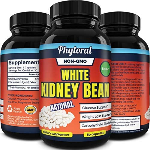White Kidney Bean Supplement Pills Pure Extract Starch Carb Blocker Weight Loss Formula - Lose Belly Fat Suppress Appetite Boost Metabolism Natural Weight Loss for Men and Women by Phytoral 3