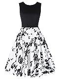 Sleeveless Floral Cocktail Dress Patchwork Dress M CL463-1