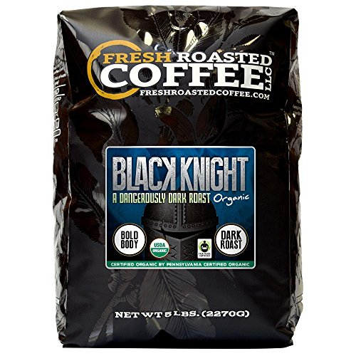 Fresh Roasted Coffee LLC, Black Knight Organic Coffee, Artisan Blend, Dark Roast, Fair Trade, USDA Organic, 5 Pound Bag
