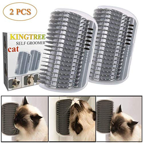 Kingtree Cat Self Groomer, 2 Pack Wall Corner Groomers Soft Grooming Brush Massage Combs for Short Long Fur Cats, Softer Massager Toy for Kitten Puppy 1
