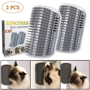 Kingtree Cat Self Groomer, 2 Pack Wall Corner Groomers Soft Grooming Brush Massage Combs for Short Long Fur Cats, Softer Massager Toy for Kitten Puppy 10