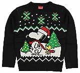 Peanuts Big Boys' Holiday Sweater, Black, Small