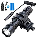 Fyland Tactical Flashlight, 1200 Lumens LED Flashlight with Picatinny Rails Mount Included Rechargeable Batteries Pressure Switch, Waterproof Small Flashlight for Outdoor Hiking