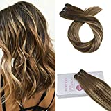 Moresoo 16 Inch Real Hair Colorful Brown #4 and Caramel Blonde #27 Weft Hair Extensions Sew in 100% Remy Brazilian Human Hair 100g/bundle Full Head Set